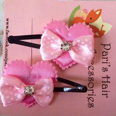 Handmade Pink heart hair clips
