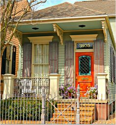 Pretty Door on New Orleans Cottage (mk) posted this here for idea of a Warren house, the detail on ceiling of roof over door - interest