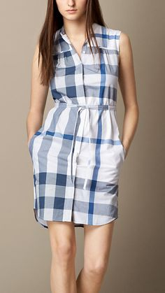 Burberry Brit Lupin Check Cotton Voile Shirt Dress - A sleeveless cotton voile shirt dress. The straight silhouette features a belted waist and a button-through front and is collarless. Discover the women's dress collection at Burberry.com