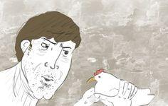 """""""мусчина в недаумении смотрит на грустную курицу"""""""