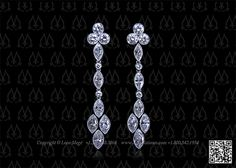 Marquise and round diamond drop earrings by Leon Megé