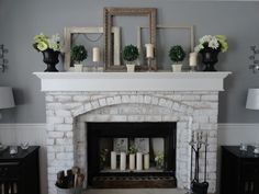Image result for Brick Fireplaces Painted White