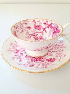 Vintage Coalport English Bone China Teacup and Saucer Cairo Pattern Cottage Style Tableware