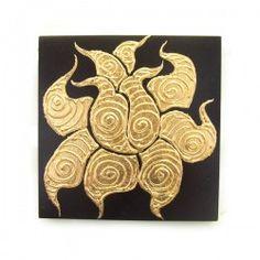 Wall Art : Mango Wood Wall Art Plaque 8x8 Golden Leaves 34026-DBR-SWG006 $49