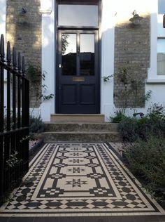 Islington Victorian mosaic tile path York stone sandstone paving wrought iron rails and gate London (46)