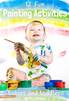 FUN PROCESS ART PAINTING ACTIVITIES FOR BABIES AND TODDLERS - It's never too early to start introducing creative activities to children!   Each art idea will allow your baby or toddler to explore, experiment and create in their own unique way. #processart #painting #kidspainting #kidsart #babypaint #babypainting #paintingactivities #kidscrafts #craftsforkids #kidsactivities #kidscraftroom #paintingideas