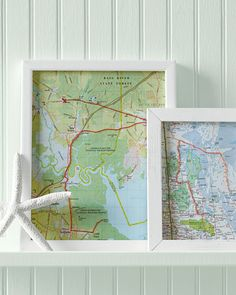 Map Artwork---Hand-stitch the route you took on a vacation, and frame it.---Would love to do this for the Big Move.