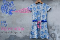 a dress for Roos, free pdf pattern in size 6 years // Polkadotjes