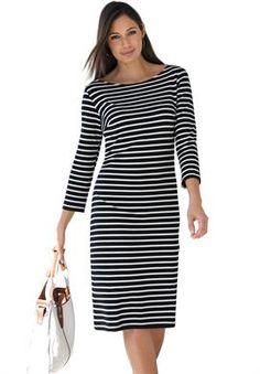Plus Size Classic Boatneck Dress