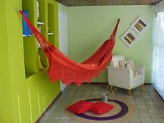 Hanging a hammock inside - the hooks - easy to hang and remove