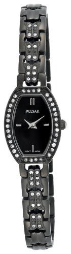 Pulsar Womens PEGC99 Crystal Accented Black Ion Plated Black Mother of Pearl Dial Watch -- Check out this great product. (This is an Amazon affiliate link)