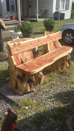 Benches/Tables/Chairs | CHRISTMAN'S CHAINSAW CARVINGS Cedar Furniture, Rustic Log Furniture, Tree Furniture, Cabin Furniture, Western Furniture, Furniture Design, Rustic Outdoor, Rustic Wood, Rustic Bench