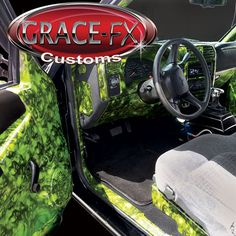 1999 FULLY Custom Chevy S-10 crazy amount of customization. Interior is all Hydro-Graphics pattern Hades over lime green base. From Grace-FX Customs