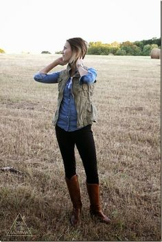 Chambray + Utility Vest + Tall Boots