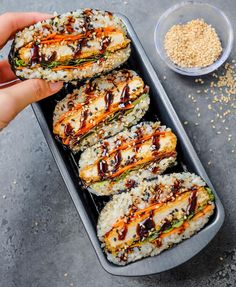"'Katsu' Sushi Sandwiches or Onigirazus 🍙 I used Japanese sushi rice wrapped in nori sheets filled with the ""Katsu"" which are actually… Sushi Recipes, Vegan Recipes Easy, Vegetarian Recipes, Cooking Recipes, Cooking Corn, Cucumber Recipes, Sushi Sandwich, Rice Wraps, Vegan Sushi"