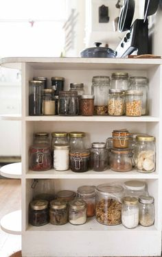 You never go wrong when you store pantry staples in glass containers! Don't forget to label.