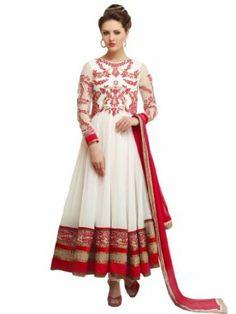Anarkali Style White Georgette Semi Stitched Salwar Suit | Riti Riwaz - DS6702
