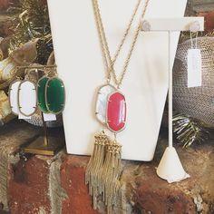 Feeling the Christmas Spirit!  Kendra Scott Danielle earrings- $60 Rayne necklaces- $80 Tessa earrings- $65  #madisonsbluebrick #downtownhotsprings #kendrascott #earrings #necklaces #gifting #christmasshopping #stockingstuffers