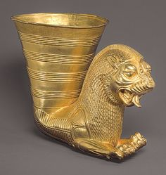 Vessel terminating in the forepart of a lion, Achaemenid, 5th century B.C.  Iran  Gold