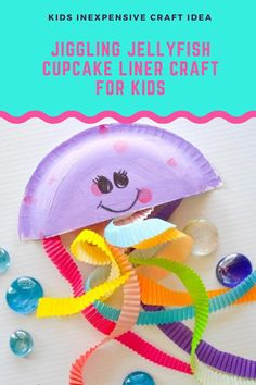 Make your own jiggling Jellyfish Craft using cupcake liners for colorful squiggly tentacles. As kids make this craft they can practice scissor skills while learning about ocean animals and making the room look like an underwater adventure, For more great inexpensive and simple kids craft ideas be sure to follow along with A Little Pinch of Perfect. Paper Plate Art, Paper Plate Crafts For Kids, Easy Crafts For Kids, Summer Crafts, Toddler Crafts, Fall Crafts, Ocean Activities, Craft Activities For Kids, Summer Activities