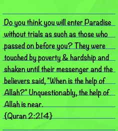 Trials, Quran, The Help, Thinking Of You, Paradise, Believe, Sayings, Thinking About You, Lyrics