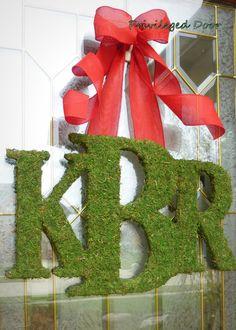 Christmas Wreath Moss LettersCustom Moss by PrivilegedDoor on Etsy, $89.00