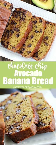 This Chocolate Chip Avocado Bread Recipe has NO oil or butter, thanks to the addition of avocado! Plus it makes this banana bread so soft and I promise you can't taste the avocado at all! Source by jennikolaus Banana Recipes Easy, Healthy Bread Recipes, Avocado Recipes, Easy Recipes, Avocado Banana Bread, Healthy Banana Bread, Avocado Toast, Avocado Chips, Avocado Dessert