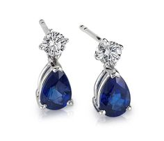 A dramatic complement, these petite sapphire and diamond earrings each feature a pear-shaped deep blue sapphire hanging gracefully from a…