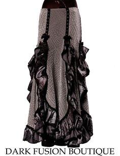 6d50918c1e9 Falda gris negro con notas a guinda volantes Noir danza