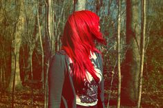 bright red, long colored hair