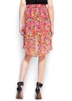 Floral print tail hem skirt