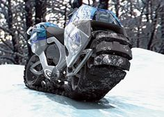 Deep mud, sand and snow are no match for this go-anywhere mutated motorbike. Click here for an exclusive 3-D look