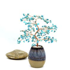 Items similar to Turquoise Wire Tree Blue Gemstone Wire Sculpture Life of Tree Lucky Tree Feng Shui Bonsai Energy Healing Chakra Decor December Birthstone on Etsy Home Decor Accessories, Decorative Accessories, Blue Gemstones, Turquoise Gemstone, Ancient Art, Feng Shui, Chakra, Beautiful Homes, Bonsai