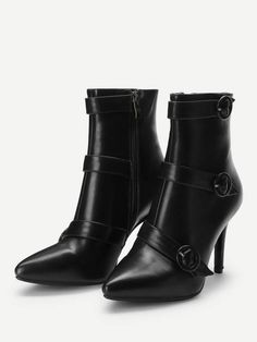 c89ea643a74e9 Stiletto Boots With Elegant Buckle Strap Detail In Black. Stiletto  BootsHigh Heel BootsPointed Toe HeelsShoes ...