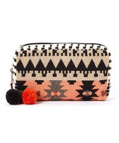 Another great find on #zulily! Black & Orange Geometric Cosmetic Bag #zulilyfinds