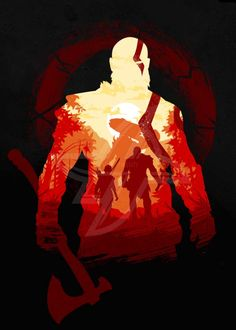 Inspired by: God of War Kratos God Of War, Valkyrie Tattoo, Fantasy Posters, Flavio, Gaming Wallpapers, Minimalist Poster, Video Game Art, Print Artist, Pictures To Draw