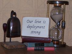 Wood Military Home Decor Sign, Shabby Cottage Chic, Country Primitive Farmhouse, Rustic Plaque, Our love is Deployment Strong Quote. $6.95, via Etsy.