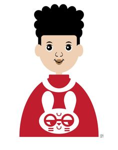 Boy 8 Art Print Boy in Red and White Bunny by Tabitha Brown High Top Fade, Boy Art, Little Boys, Red And White, Minnie Mouse, Disney Characters, Fictional Characters, Bunny, African