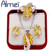 Almei Love Silver Big Yellow Rhinestone Jewerly Sets for Women Ladies Wedding CZ Diamond Collares  Necklace Earrings Ring T Y182 www.bernysjewels.com #bernysjewels #jewels #jewelry #nice #bags