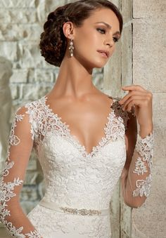 Wedding Gown Accessory 11074 BRIDAL ACCESSORIES BEADED SATIN BELT