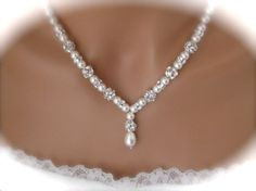 Pearl and rhinestone necklace and earring set wedding jewelry