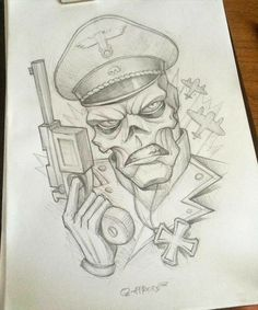 Red Skull from Caprain America. Tattoo Design Drawings, Pencil Art Drawings, Art Drawings Sketches, Tattoo Sketches, Cartoon Drawings, Cartoon Art, Cool Drawings, Zombie Drawings, Graffiti Drawing