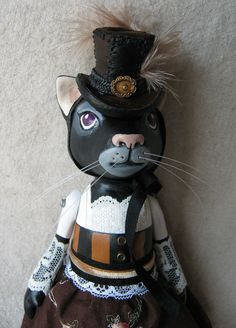 steampunk cat art doll