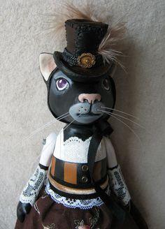 steampunk cat art doll