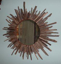 Driftwood Sunburst Mirror by VintageSeaCottage on Etsy, $125.00