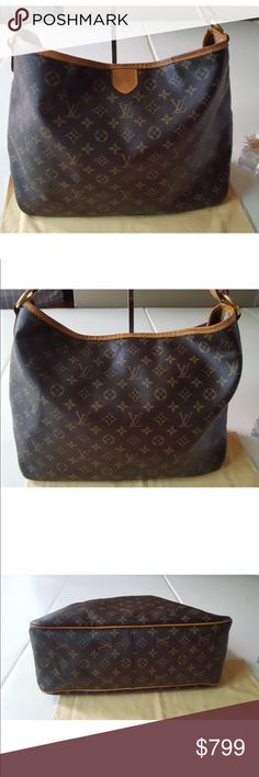 ed4650c0c568 Authentic Louis Vuitton Delightful MM Monogram This stylish tote bag is  crafted of signature Louis Vuitton