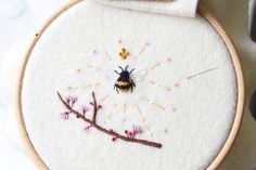 Queen bee finished by ajpritchett Embroidery Thread, Embroidery Designs, Textile Artists, Queen Bees, Fabric Art, Cross Stitching, Cute Art, Fiber Art, Needlework