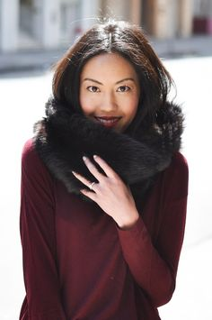 Oxblood Sweater - Black Fur Scarf