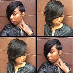 Short Fluffy Side Parting Slightly Curled Synthetic Wig - All For Hairstyles Short Sassy Hair, Short Hair Cuts, Short Hair Styles, Bob Styles, Pixie Cuts, Short Black Hairstyles, Bob Hairstyles, Relaxed Hairstyles, Mixed Hairstyles