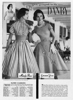 Danby Fashions, Mindy Ross & Susan Ross designs, 1955 // myvintagevogue.com